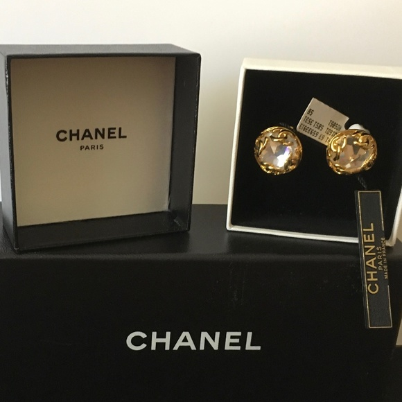 CHANEL Jewelry - Vintage 1995 CHANEL CC Logo & Crystal Earrings